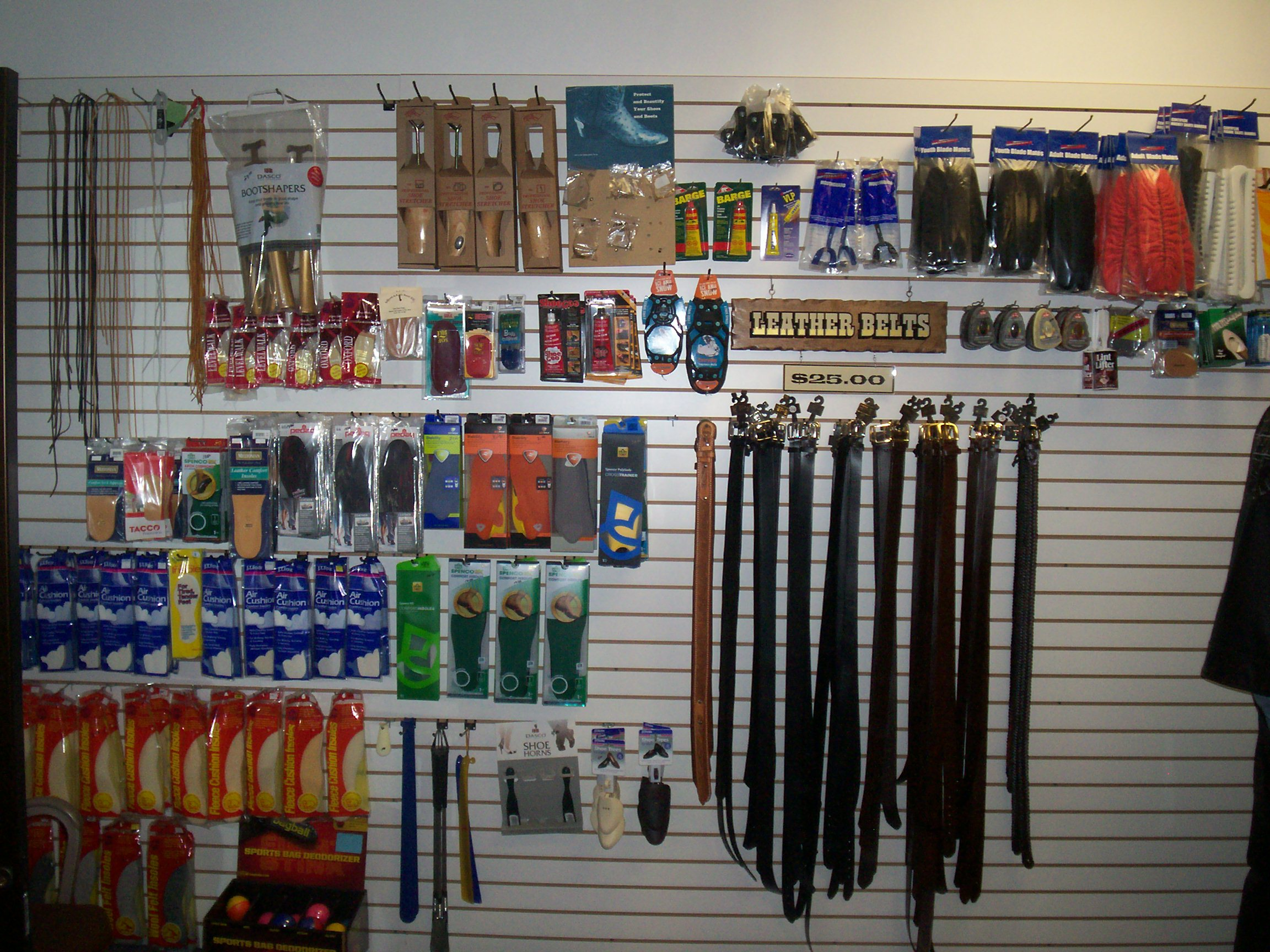 A wall of our products